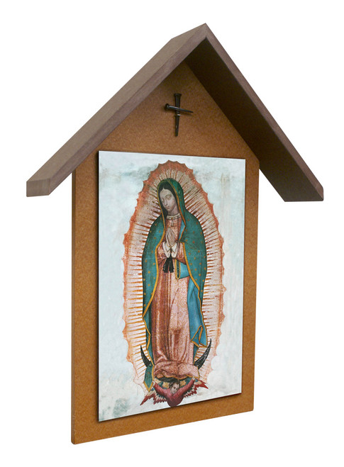 Our Lady of Guadalupe Simple Poly Wood Outdoor Shrine