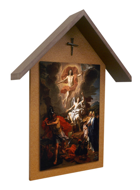 Resurrection by Coypel Simple Poly Wood Outdoor Shrine