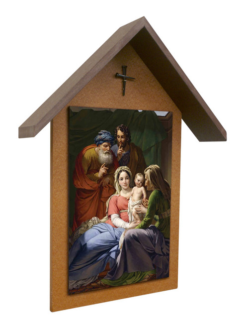 Holy Family with Grandparents Simple Poly Wood Outdoor Shrine