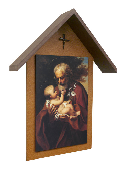 St. Joseph (Older) Simple Poly Wood Outdoor Shrine
