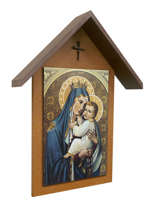 Our Lady of Mt. Carmel Simple Poly Wood Outdoor Shrine