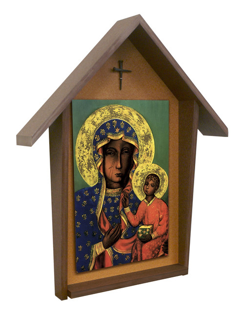 Our Lady of Czestochowa Deluxe Poly Wood Outdoor Shrine