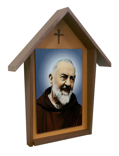 Padre Pio Deluxe Poly Wood Outdoor Shrine