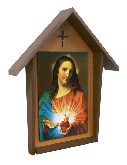 Sacred Heart Holding Heart Deluxe Poly Wood Outdoor Shrine