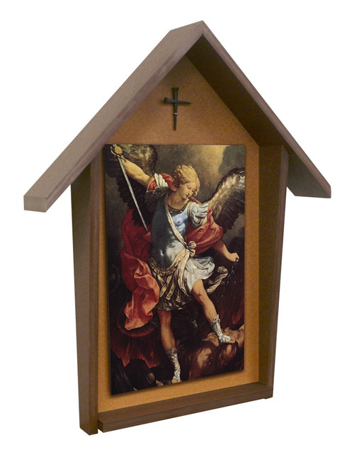 St. Michael Deluxe Poly Wood Outdoor Shrine
