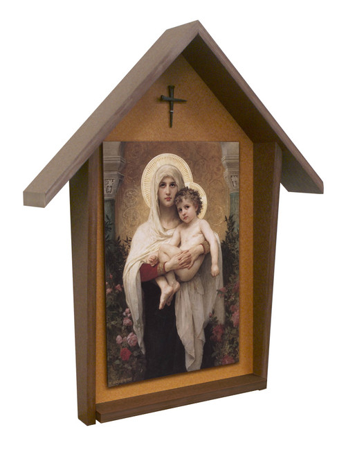 Madonna of the Roses Deluxe Poly Wood Outdoor Shrine