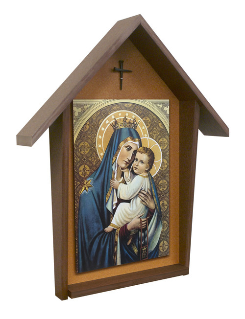 Our Lady of Mt. Carmel Deluxe Poly Wood Outdoor Shrine