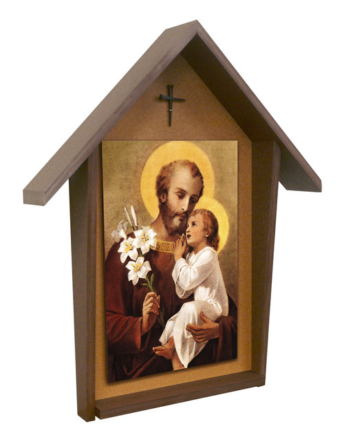 St. Joseph (Younger) Deluxe Poly Wood Outdoor Shrine