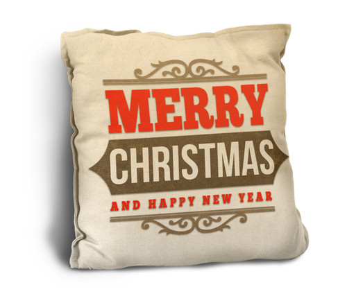 """Merry Christmas and a Happy New Year"" Rustic Pillow"