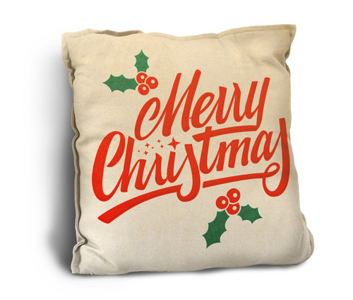 """Holly """"Merry Christmas"""" Rustic Pillow"""