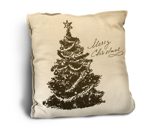 """""""Merry Christmas"""" with Tree Rustic Pillow"""