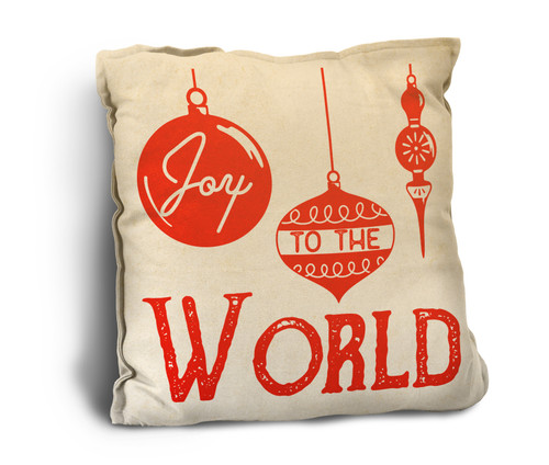 """Joy to the World"" with Ornaments Rustic Pillow"
