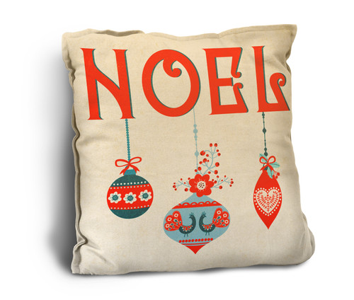 """""""Noel"""" with Ornaments Rustic Pillow"""