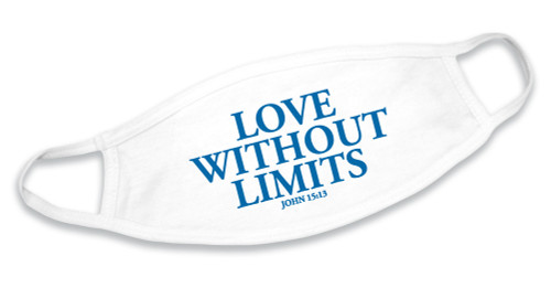 """""""Love Without Limits"""" White Cotton Face Mask"""