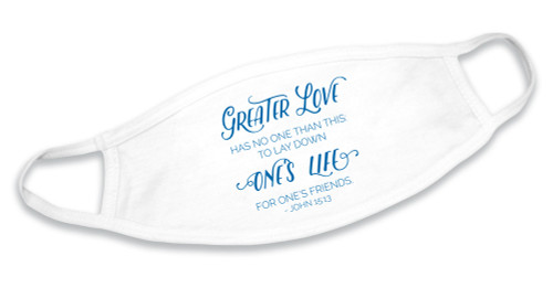 """""""Greater Love"""" White Cotton Face Mask"""