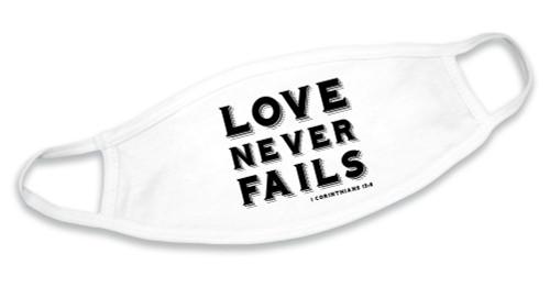 """Love Never Fails"" White Cotton Face Mask"