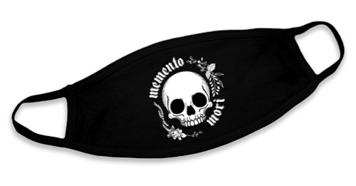 """Memento Mori"" Skull Black Cotton Face Mask"