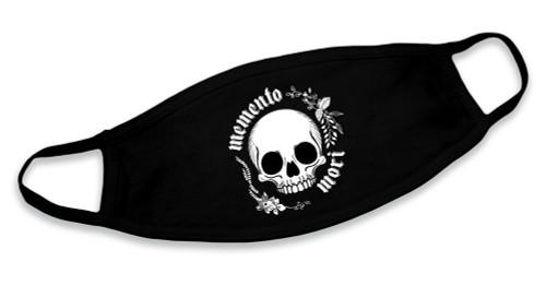 """Memento Mori"" Skull Black Cotton Face Mask"
