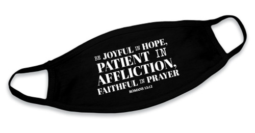 """Be Joyful In Hope"" Black Cotton Face Mask"