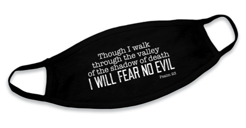 """I Will Fear No Evil"" Black Cotton Face Mask"