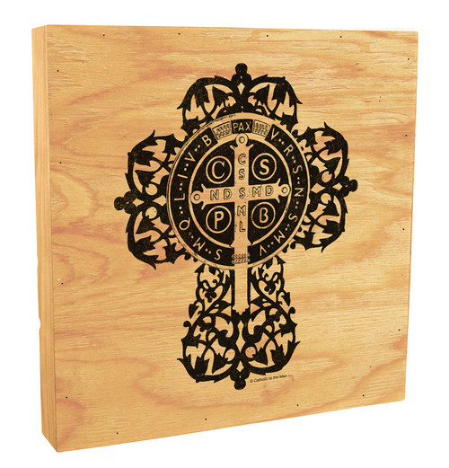 Benedictine Cross Rustic Box Art