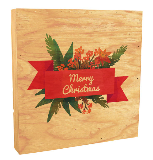 """Merry Christmas"" Poinsettia and Pine Rustic Box Art"
