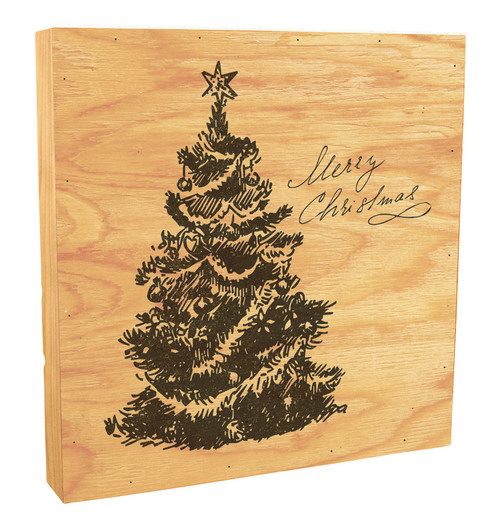 """Merry Christmas"" with Tree Rustic Box Art"