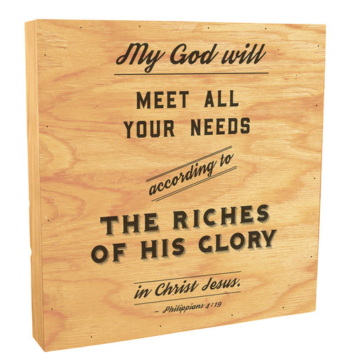 """""""My God Will Meet All Your Needs"""" Rustic Box Art"""
