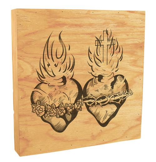 Sacred and Immaculate Hearts Rustic Box Art