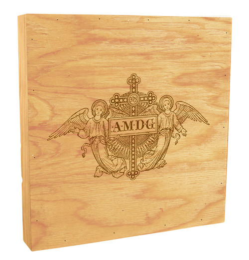 AMDG Angels Woodcut Rustic Box Art
