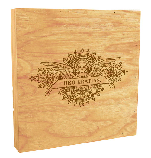 Deo Gratias Angel Woodcut Rustic Box Art