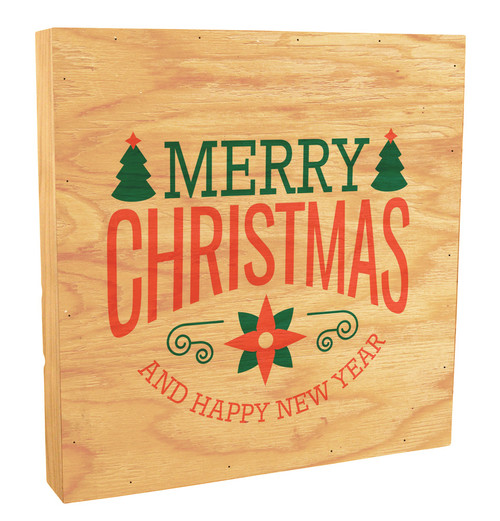 "Poinsettia ""Merry Christmas and a Happy New Year"" Rustic Box Art"