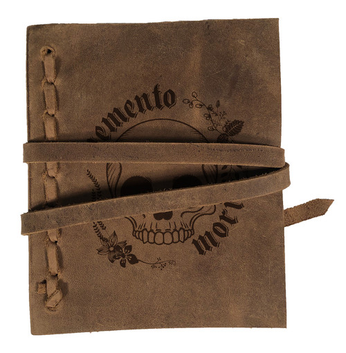 """Memento Mori"" Skull Rustic Leather Journal"