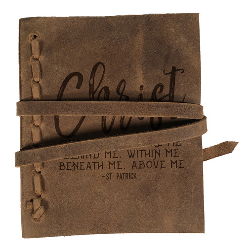 """Christ Before Me"" Rustic Leather Journal"