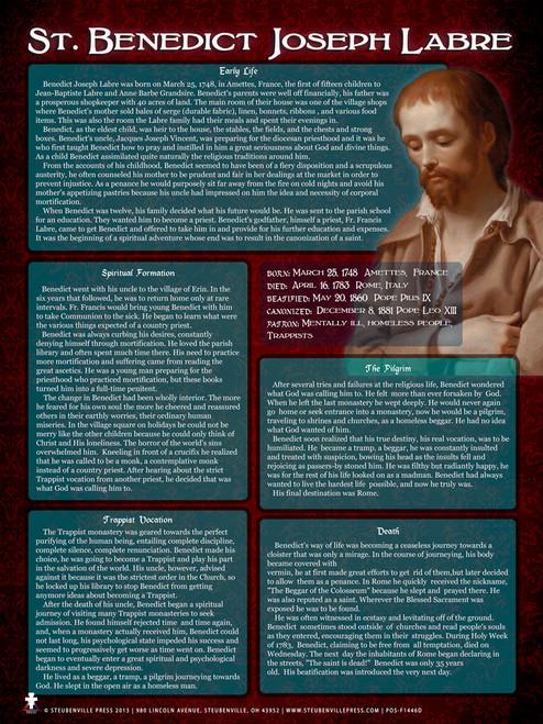 St. Benedict Joseph Labre Explained Poster
