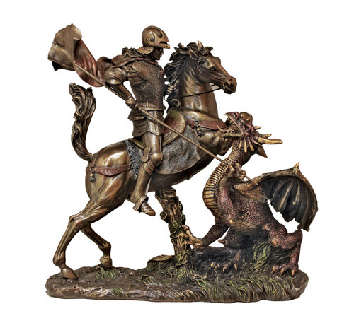 St. George Slaying the Dragon Bronze Statue
