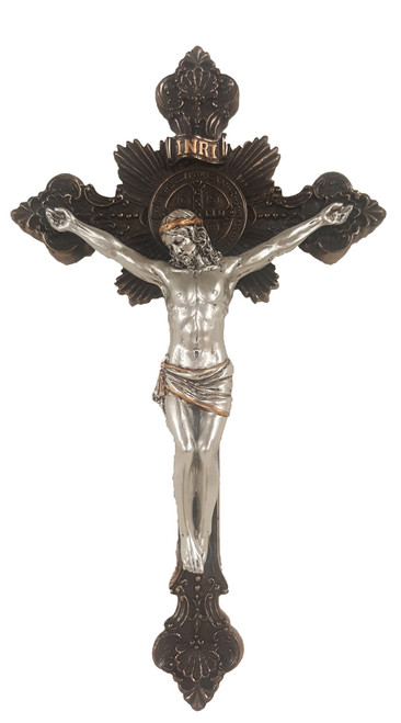 Bronze and Pewter-Style Benedictine Crucifix - 7.75""