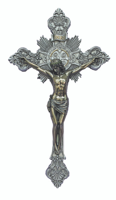 Pewter-Style Benedictine Crucifix - 14""