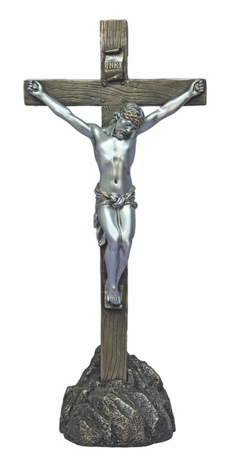 """Pewter Style Standing/ Hanging Crucifix  -13"""""""