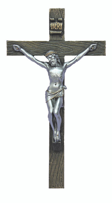 Pewter Style Crucifix - 10""