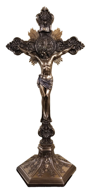 Bronze Benedictine Standing/Hanging Crucifix - 19""