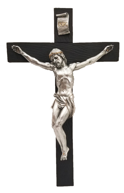 Black and Pewter Style Crucifix - 16""