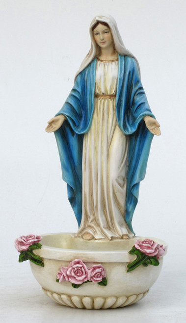 Painted Our Lady Of Grace Holy Water Font - 7.5""
