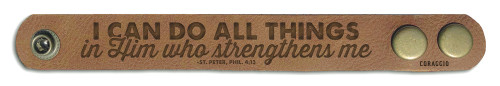 """I Can Do All Things"" Rustic Leather Bracelet"