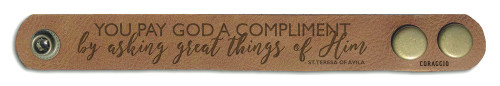 """You Pay God a Complement"" Rustic Leather Bracelet"