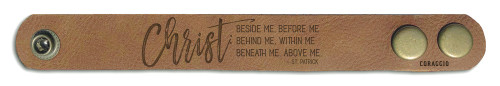 """Christ Before Me"" Rustic Leather Bracelet"