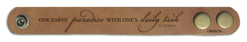 """One Earns Paradise"" Rustic Leather Bracelet"