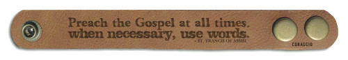 """Preach The Gospel At All Times"" Rustic Leather Bracelet"