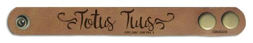 """""""Totus Tuus"""" Rustic Leather Bracelet"""