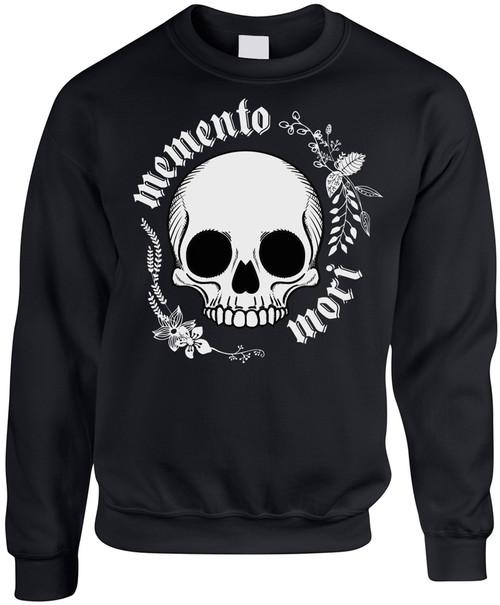 """""""Memento Mori"""" Black Crewneck Sweatshirt"""